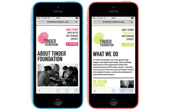 Tinder Foundation responsive website designs