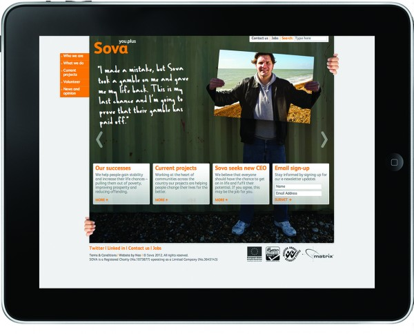 Sova website homepage design