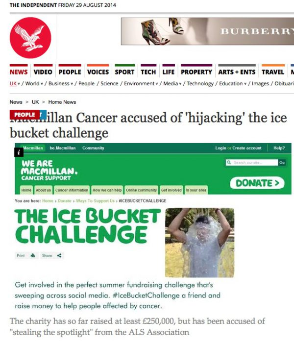 macmillan and ice bucket challenge